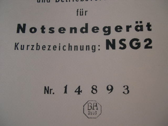 REPRINT - German 1941 Dated Luftwaffe Pilot's Emergency Transmitter NSG 2 Manual