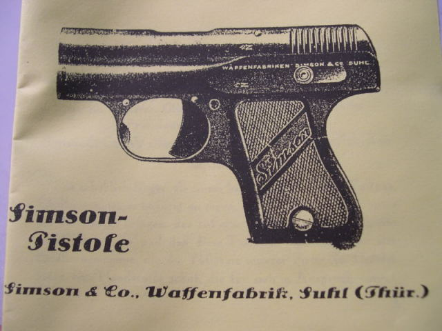 REPRINT - German WWII Era Simson Pistol Owner's Manual