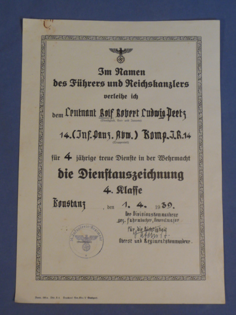 Bunker militaria award documents original 1939 german heer army 4 year long service award document anti yadclub Gallery