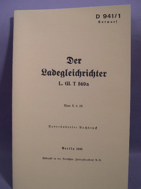 REPRINT - German WWII Manual, Loading Rectifier