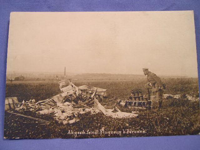 Original WWI German Postcard - Plane Crash
