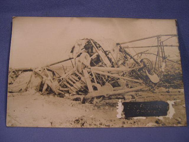Original WWI German Postcard - English Bomber Crash