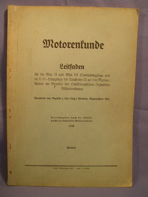 Original WWII German Naval College Book, Motorenkunde