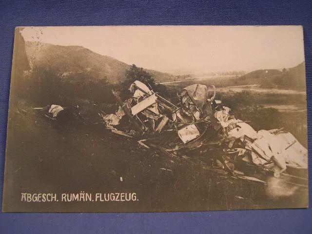 Original WWI German Postcard, Crashed Plane