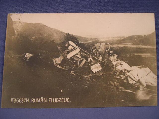 Original WWI German Postcard, Crashed Plane