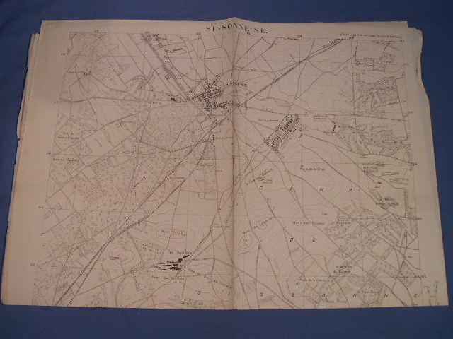 Original 1926 French 2-Color Military Map, Sissonne-S.E., France