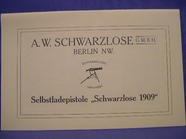 "REPRINT - German Manual for the ""Schwarzlose 1909"" Pistol"