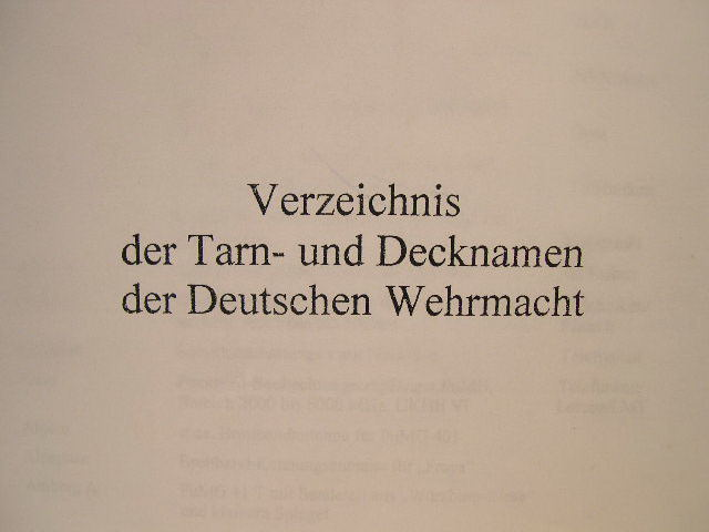 "PHOTOCOPY - German WWII Manual ""German Armed Forces Code Names"""