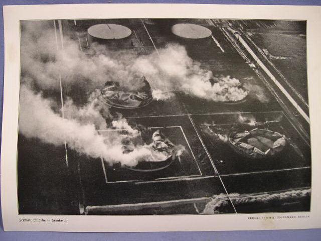 Original WWII German Print � Destroyed Oil Tanks in France