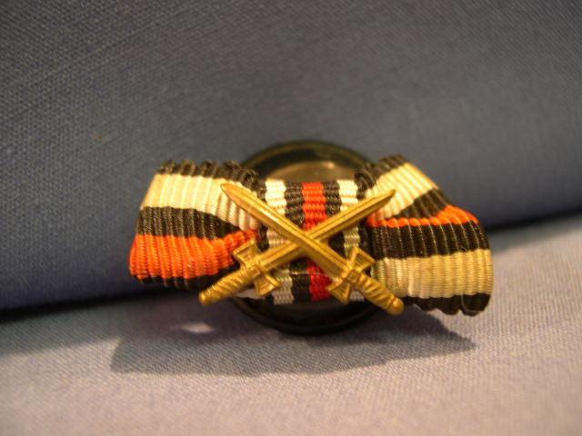 Original WWII German Buttonhole Ribbon Bar, War Merit Cross 2nd Class w/Swords