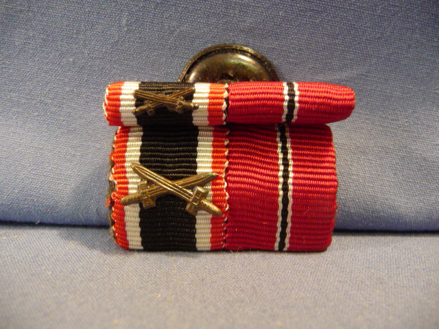 Original WWII German Two-Position Ribbon Bar AND Button Hole Bar SET!