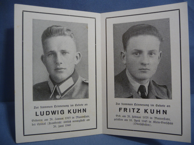 Original WWII German Remembrance Card for Brothers