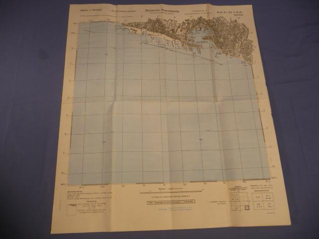 Original WWII German Italian Front Military Map, Genova
