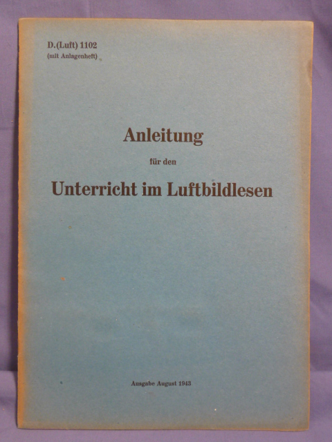 Original WWII German Luftwaffe 3-D Aerial Map Reading Manual