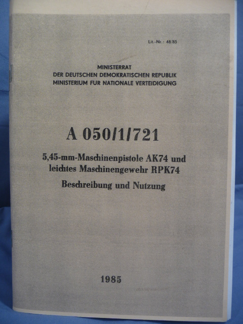 REPRINT - DDR East German AK74 Manual