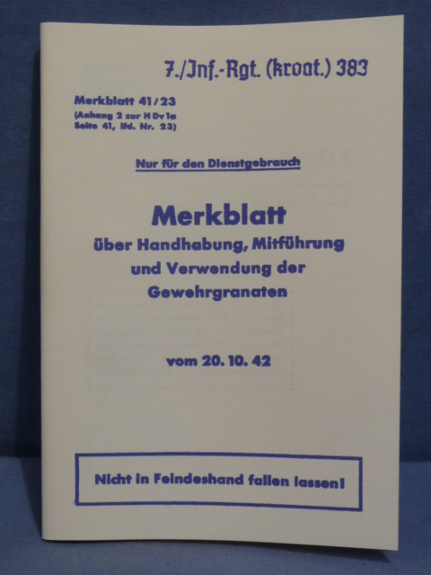 REPRINT - WWII German Manual for 98k Rifle Grenade Launcher
