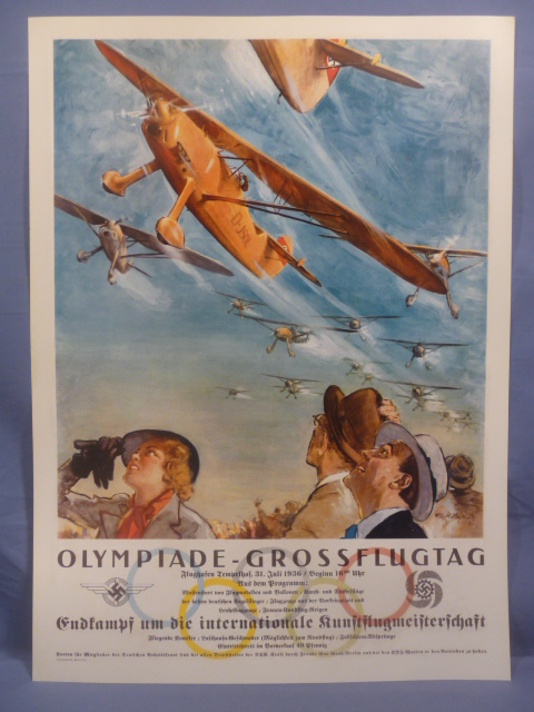 REPRODUCTION 1936 German Poster for the Olympics Flying Day