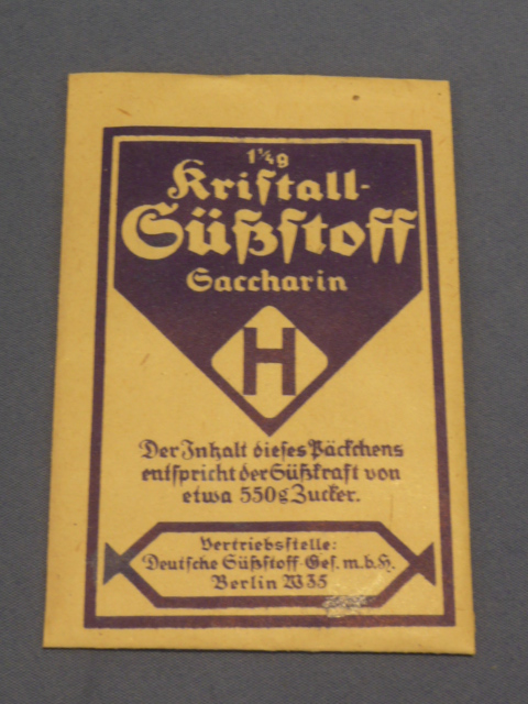 Original WWII Era German Blue Packet of Saccharin