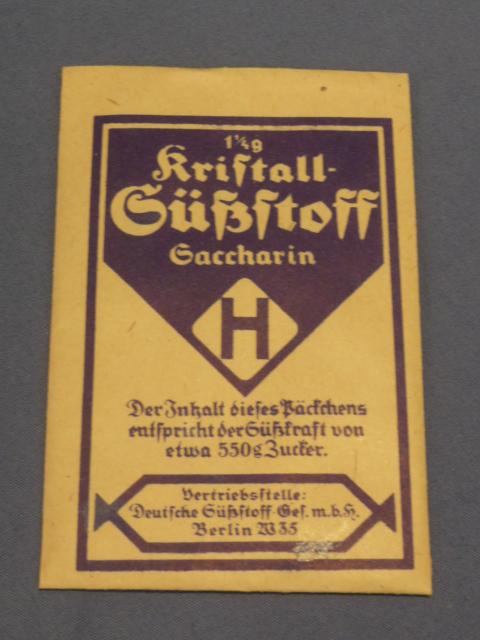 Original WWII Era German Blue Packet of Saccharin