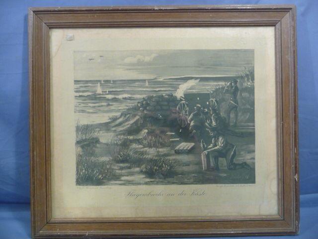 "Original WWI German Framed Print ""Anti-Aircraft Gun on the Coast"""