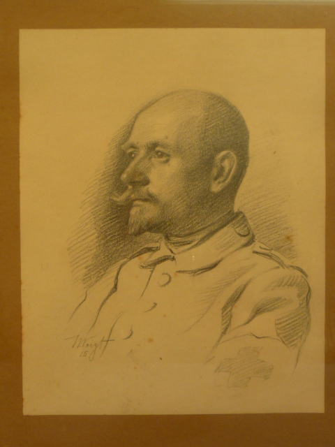 Original Pre-WWI German Pencil Drawing of Red Cross Man