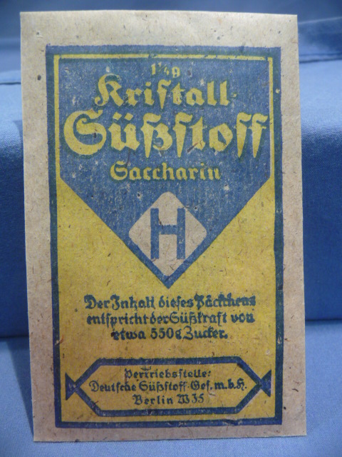 Original WWII Era German Blue & Yellow Packet of Saccharin