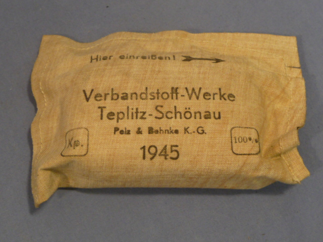 Original WWII German Soldier�s Small 1st Aid Bandage, 1945 Dated!