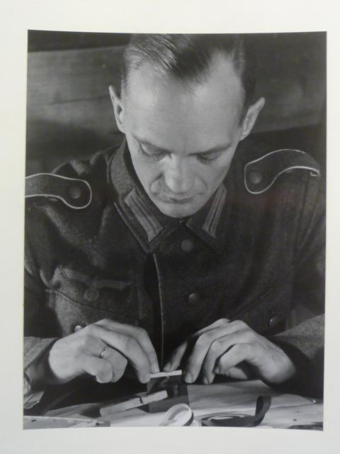 Original WWII German Soldier Working Photo