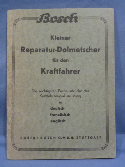 Original WWII German Bosch Small Repair Book for Motorists, German/French/English
