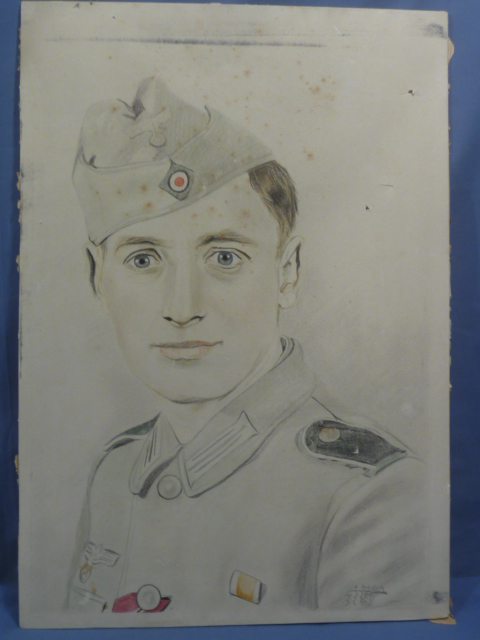 Original WWII German Army Soldier�s Pencil Drawing
