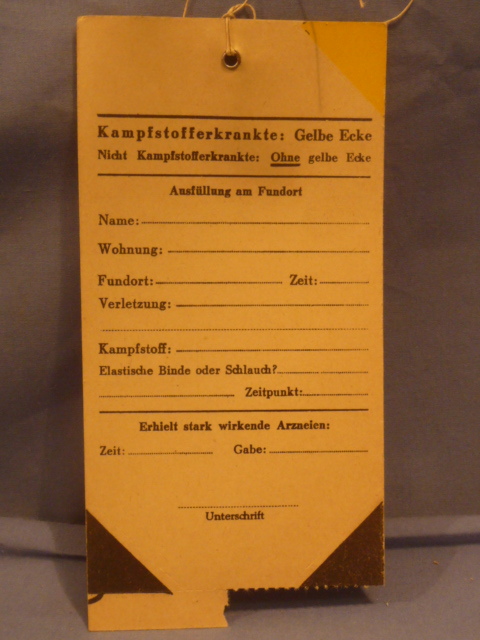 Original WWII German Medical Tag for Wounded Person