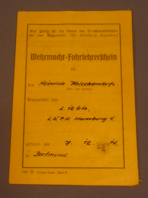 Original WWII German Driving Instructor's Driver License