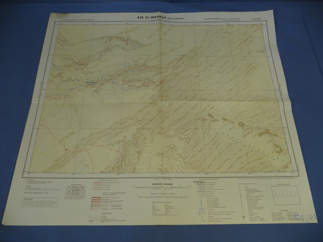 Original WWII German Afrikakorps Map of BIR EL-MAARUF