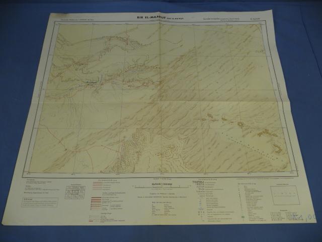 Original WWII German Afrikakorps Map of BIR EL-MAARUF