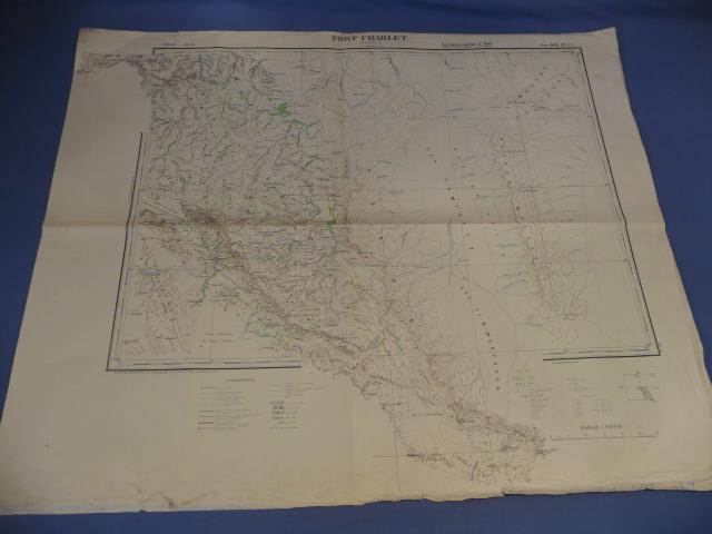Original WWII German Afrikakorps Map of FORT CHARLET