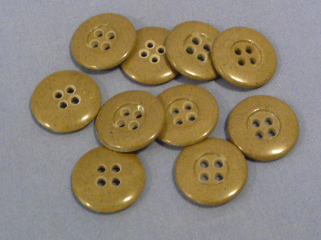 Original WWII German 18mm Khaki Glass Buttons, SET OF 10