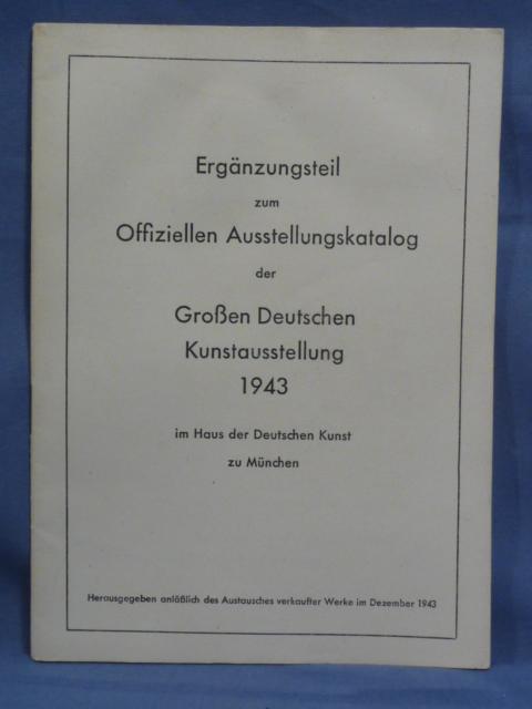 Original WWII German 1943 Art Exhibition Catalog Supplement