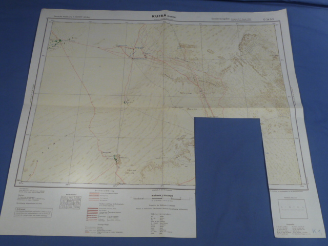 Original WWII German Afrikakorps Map of KUFRA