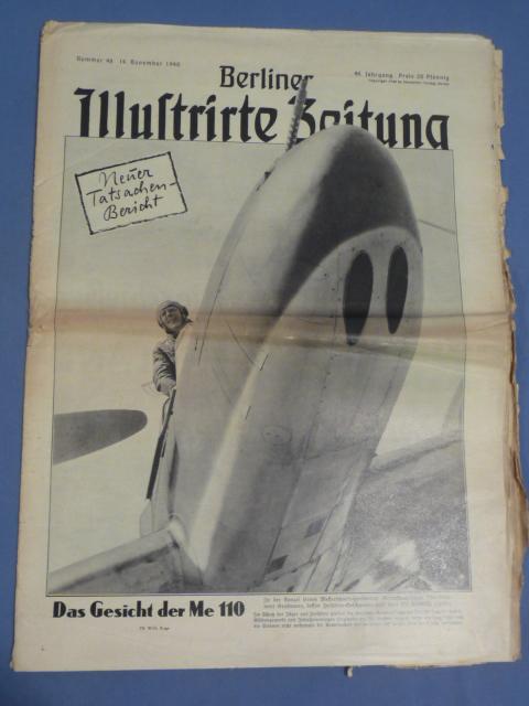 Original WWII German Magazine, Berliner Illustrierte Zeitung, ME-110
