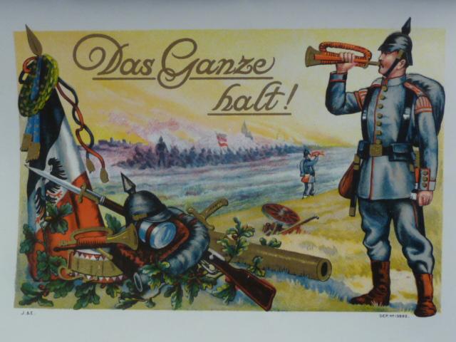 Original WWI German Color Print Das Ganze halt!