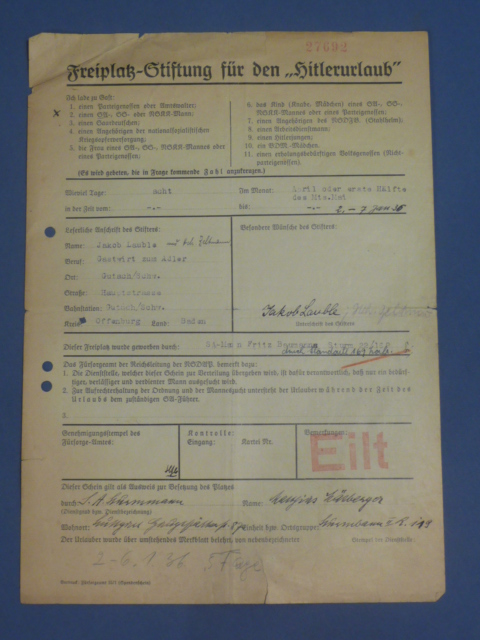 Original 1936 German Free Lodging Document for �Hitler Vacation� Award Winner