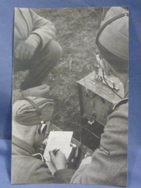 Original WWII German Photo Postcard, Army Radio Men!!!