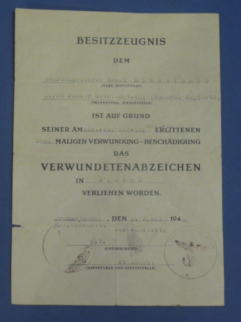 Original WWII German Wound Badge in SILVER Award Document to WAFFEN-SS MAN!
