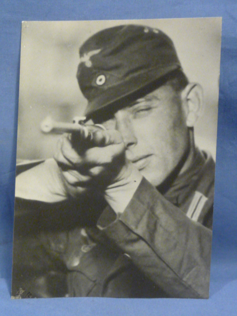 Original WWII German Photograph of Afrika Korps Man with Rifle