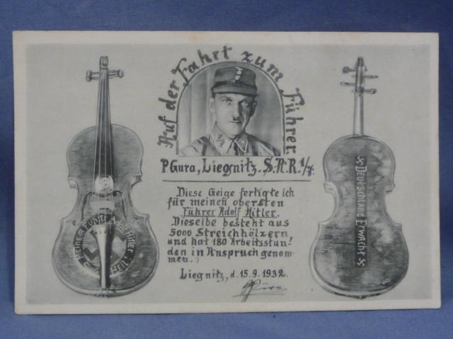 Original WWII German Postcard, SA Man Made Matchstick Violin for HITLER!