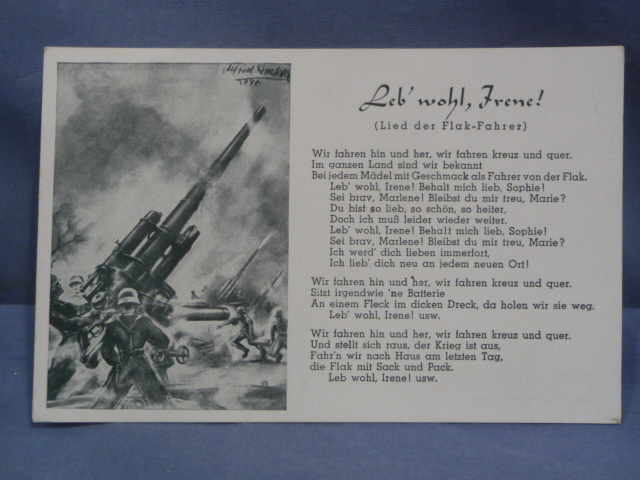 Original WWII German Song Postcard, Song of the FLAK Driver!!!