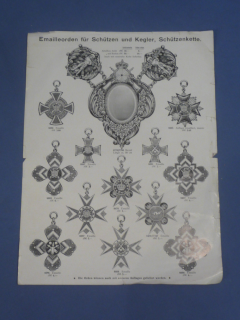 Original WWI Era German Insignia Manufacturer�s Product Sales Sheet