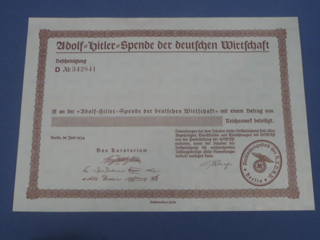 Original WWII German Award Document for Donation to the German Economy