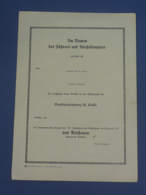 Original WWII German UNUSED Award Document for 12 Years Faithful Service