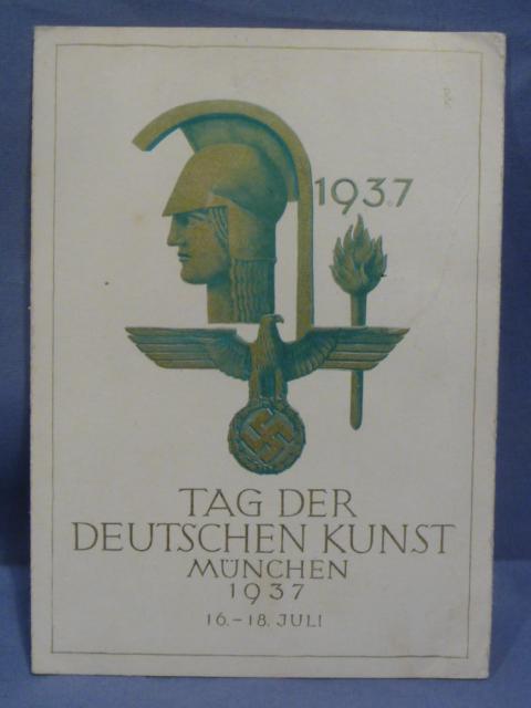 Original 1937 German Commemorative Postcard, Day of German Art